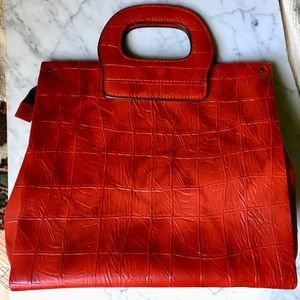 Vintage Midcentury Faux Leather Red Tote